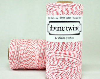 Divine Twine in Coral- (240 yds) Coral and White