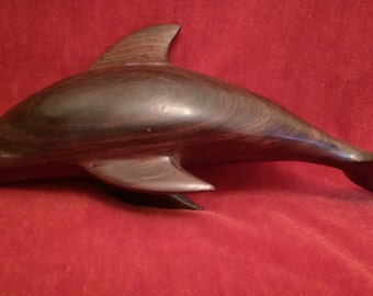 Vintage Hand Carved Ironwood Dolphin Sculpture