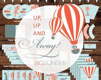 Up, Up and Away Birthday (Boy) Big Bundle, Up Birthday Bundle, Hot Air Balloon Birthday Bundle, Up, Up and Away Printables