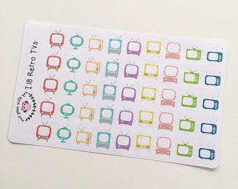 I18    45 Retro Television Stickers
