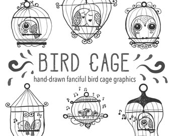 Cute Hand Drawn Bird Owl Birdcage Clip Art, digital download, Doodly Doodle Illustrated Clipart, Digital Download Bird Cage Clip art set