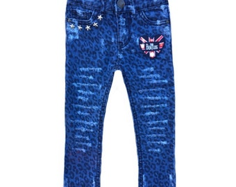 Toddler girl skinny jeans Cheetah print Distressed denim The Beatles Studded jeans Size 2T Cool kid clothes Girl jeans Toddler girl clothes