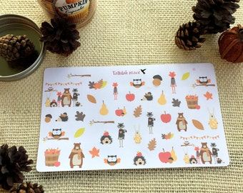 H082 - Autumn Animals Planner Stickers | Perfect for Your Erin Condren Life Planner