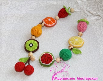 teething necklace baby teether baby teething toy nursing necklace  breastfeeding necklace crochet beads toddler gift crochet fruit eco toy