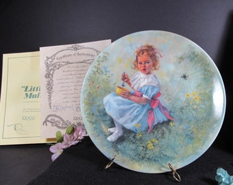Little Miss Muffet Collectors Plate from the Mother Goose Series by Artist John McClelland Original Packaging Vintage Collectibles
