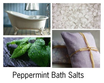 Peppermint Bath Salts, Peppermint Bath, Peppermint Bath Oil - - - 16oz Bag
