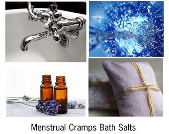 Menstrual Cramps Bath Salts, Menstrual Cramp Relief, Natural Mineral Salts and Essential Oils for Helping Ease Menstrual Cramps.