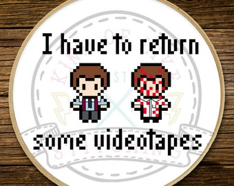 American Psycho - I have to return some videotapes - Cross Stitch (PATTERN ONLY)