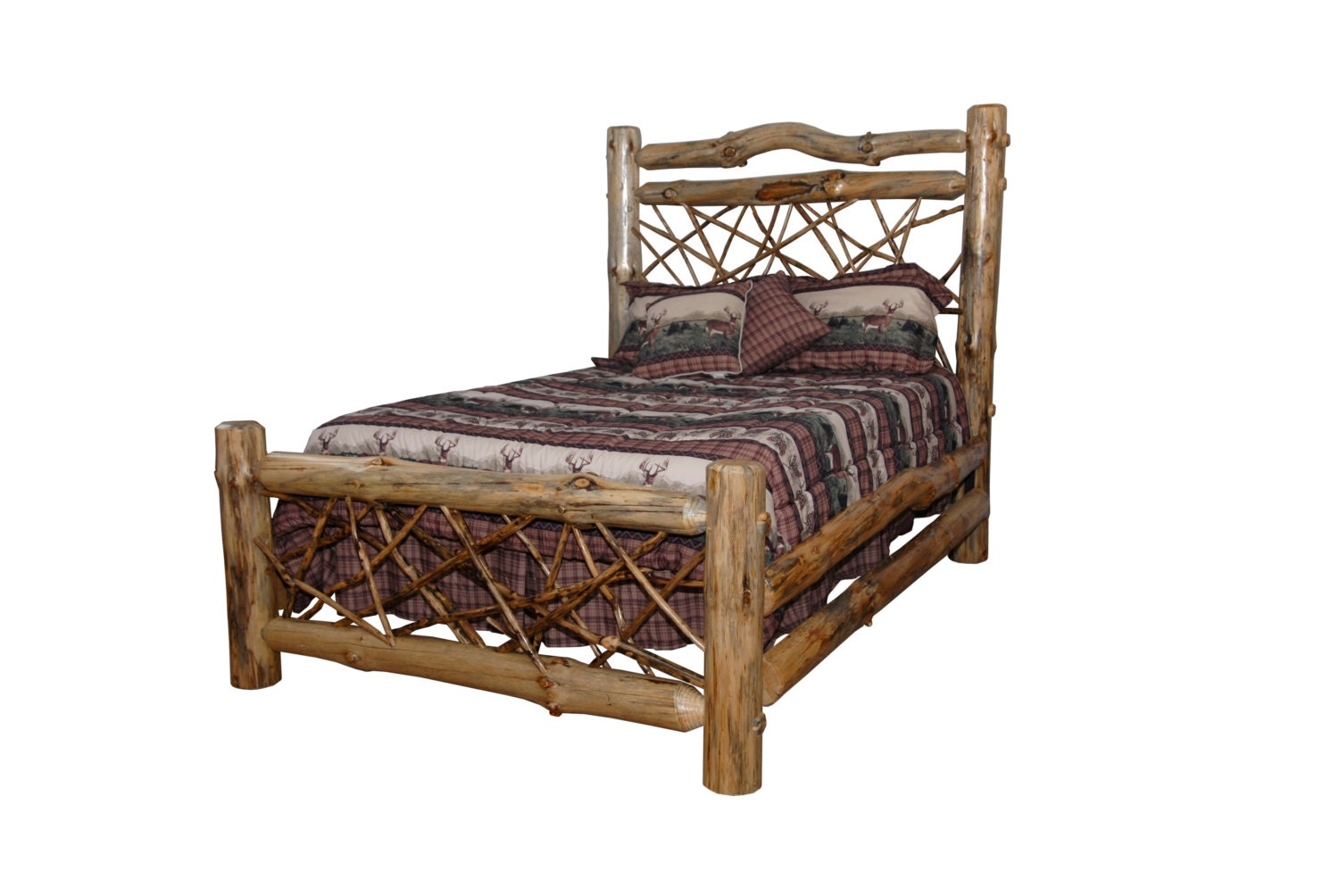 Rustic Pine Log King Size Twig Style Complete Bed Frame