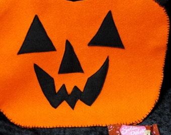 Hand stitched Halloween Pumpkin Trick or Treat Felt Bag