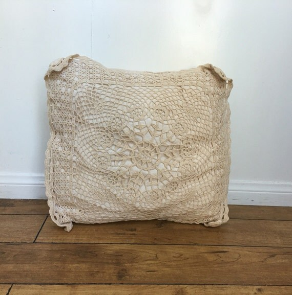 Cream Lace Throw Pillows : Cream Pillow Lace Pillow Small Throw Pillow Crochet