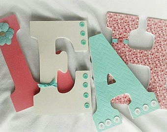nursery letters girl wooden letters girls room decor girl nursery letters coral and mint nursery