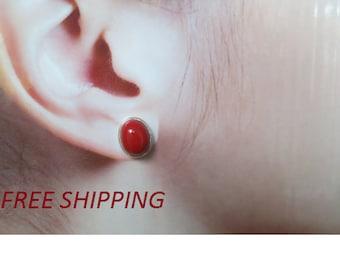 Red coral  stud earrings set in 92.5 sterling silver