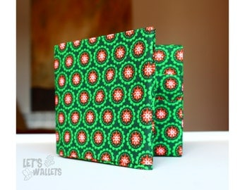 GREEN WALLET made with COTTON fabric in origami style
