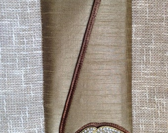 Olive Silk evening clutch with Swarowski , evening clutch , womens evening clutch silk diamante clutch , wardrobe must have