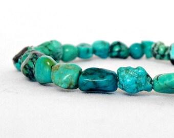 Genuine Turquoise Beaded Stretch Bracelet - Stacking Bracelet - Green Bracelet