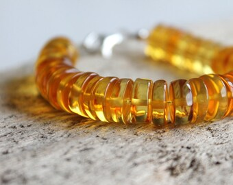 Baltic amber bracelet, sterling silver clasp, lemon amber bracelet, Amber jewelry, elegant bracelet, amber jewellery, natural Baltic amber