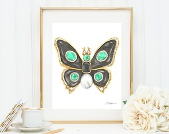 Butterfly Brooch Watercolor Rendering in Yellow Gold with Black Onyx, Emeralds, Diamonds, and Pearl printed on Paper