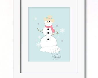 A4 let it snow! christmas print