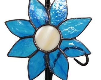 Stained Glass Sunflower Suncatcher, Blue Sunflower, Handmade, Window Decoration