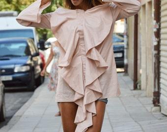 Extravagant Elegant Shirt, Oversize Cotton Shirt, Plus Size Tunic, Loose Sleeves Top, Formal Modern Blouse by SSDfashion
