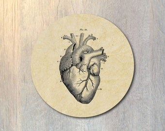Human Heart Mouse Pad Round - Anatomical Heart Human Anatomy Computer or Office Work Station Decor