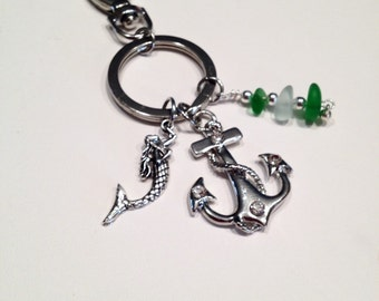 1 Sea Glass Key Chain, key Charm