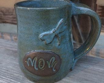 Mom pottery mug with Dragonfly