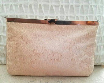 Pink Lace Vintage Evening Clutch