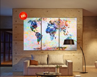 world map poster wall art print on canvas Large world map poster print art artwork large world map Print home office decoration