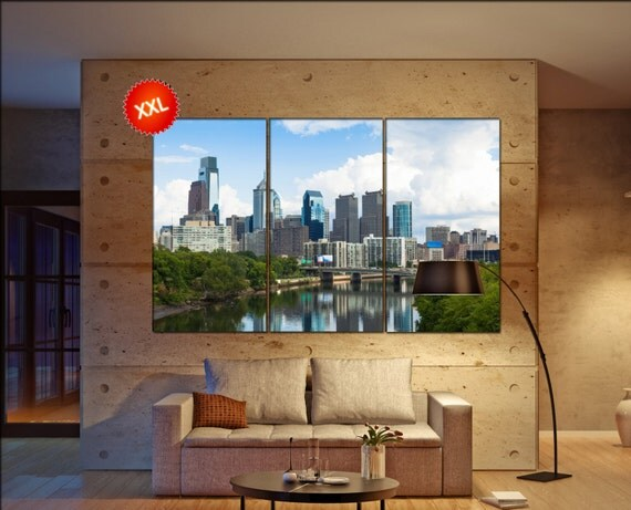 Philadelphia Skyline  print  on canvas wall art Skyline view of Philadelphia, Pennsylvania photo art work framed art artwork
