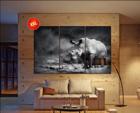 Rhino  canvas wall art Rhino wall decoration Rhino canvas wall art art Rhino large canvas wall art  wall decor