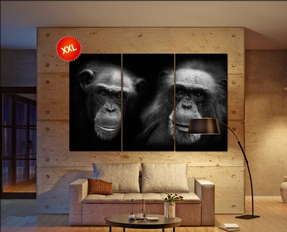 chimpanzee canvas wall art art  large  canvas wall art print chimps Wall Home office decor interior Office Decor