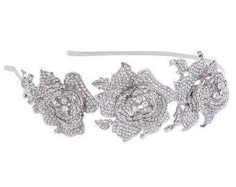 Crystal Rose Headband, Bridal Headpiece, Bridal Headband, Wedding Headpiece, Wedding Headband, Hair Accessories, Tiara, Silver Headband