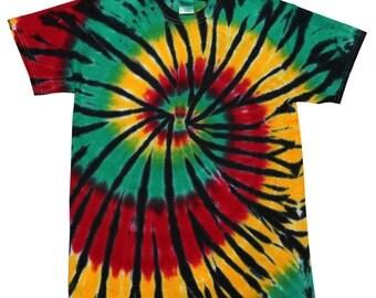 Tie Dye T-Shirt, Rasta Web Multi-Color Spiral Short Sleeve S M L XL 2XL 3XL