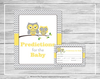 Owl Baby Shower Predictions for Baby - Printable Baby Shower Predictions for Baby - Yellow Owl Baby Shower - Baby Predictions - SP133