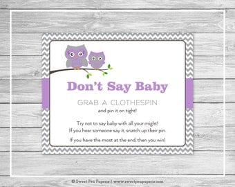 Owl Baby Shower Don't Say Baby Game - Printable Baby Shower Don't Say Baby Game - Purple Owl Baby Shower - Don't Say Baby - Owl Baby - SP136