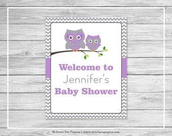 Owl Baby Shower Welcome Sign - Printable Baby Shower Welcome Sign - Purple Owl Baby Shower - Owl Shower Welcome Sign - EDITABLE - SP136