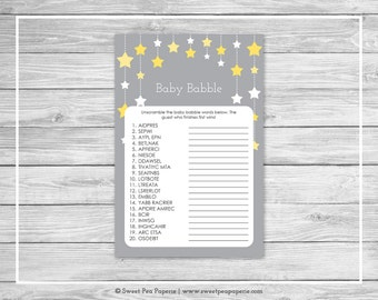 Twinkle Little Star Baby Shower Baby Babble Game - Printable Baby Shower Baby Babble Game - Twinkle Little Star Baby Shower - SP117