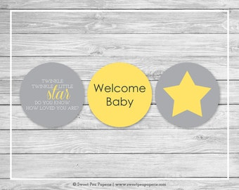 Twinkle Little Star Baby Shower Cupcake Toppers - Printable Baby Shower Cupcake Toppers - Twinkle Little Star Baby Shower - Toppers - SP117