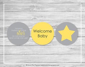 Twinkle Little Star Baby Shower Cupcake Toppers - Printable Baby Shower Cupcake Toppers - Twinkle Little Star Baby Shower - Toppers - SP117