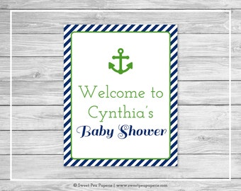 Nautical Baby Shower Welcome Sign - Printable Baby Shower Welcome Sign - Navy Green Baby Shower - Baby Shower Welcome Sign - EDITABLE- SP120