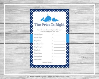 Whale Baby Shower Price Is Right Game - Printable Baby Shower Price Is Right Game - Blue Whale Baby Shower - Price Is Right Game - SP127