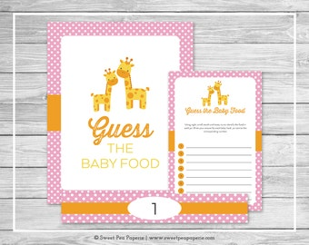 Giraffe Baby Shower Guess The Baby Food Game - Printable Baby Shower Guess Baby Food Game - Pink Giraffe Baby Shower - Baby Food Game- SP129