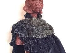 Shibori tie dye silk handmade scarf