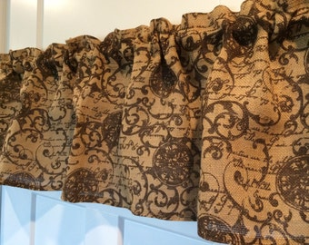 Burlap with Brown Accents valance