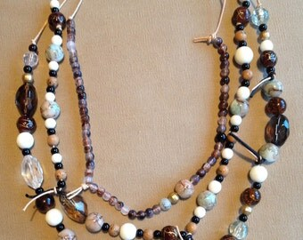 Earthy Beads and Leather Necklace