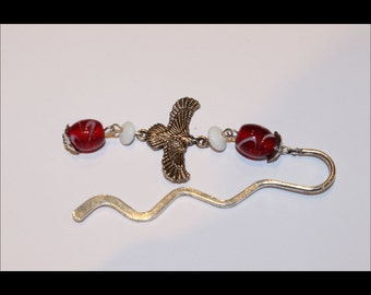 Bird charm bookmark- with red and white beads-MIN008