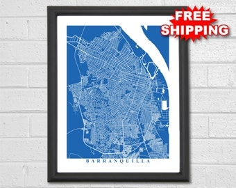 Barranquilla Map Art - Map Print - Colombia - Map Print - Home Map - Modern - Birthday - Geography - Custom Map - Housewarming Gift Vacation