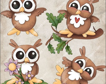 Happy Hoots Clip Art Instant Digital Download